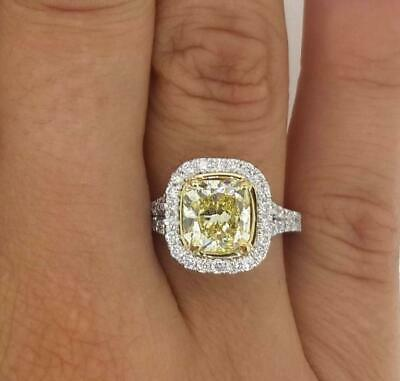 3 87 Carat 3 Stone Fancy Yellow Cushion Cut Diamond Engagement Ring
