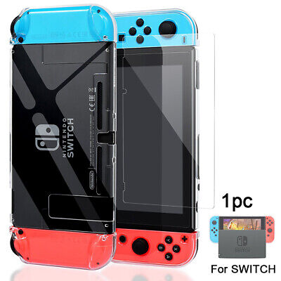 UK For Nintendo Switch Console Back Case Cover + Tempered Glass Screen Protector