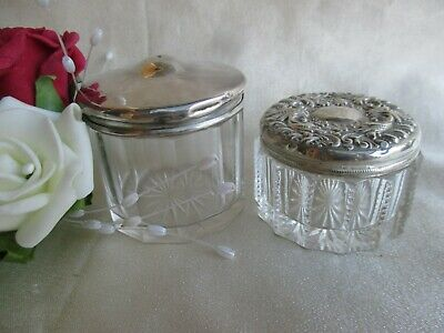 2 Lovely Antique Sterling Silver & Crystal Perfume Trinket Box  London 1907
