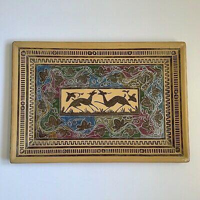 Vtg Hand Painted Mid Century Wood Tray Deer Gazelle Fish Leaves Serving Decor