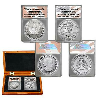 2-2019 FDOI Pride of Two Nations (1)RCM and (1)US Mint Sets in ANACS PR 70 DCAM