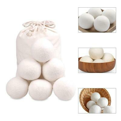 6Pcs Reusable Sheep Wool Dryer Ball Organic Natural Laundry Fabric Softener