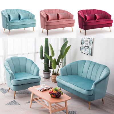 Tub Velvet Shell Chair Retro Tub Wing Back Armchair, 2 Seater Sofa Couch Settee