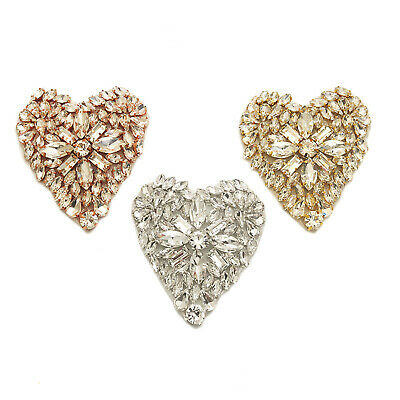 Rose Gold Heart Rhinestone Patch Sweet Heart Crystal Hot Glued Applique DMA041