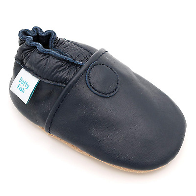 Dotty Fish Soft Leather Baby Shoes. Toddler Shoes. Non-Slip Suede Soles. Boys