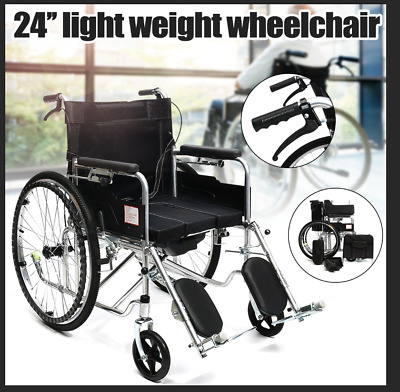 90cm Foldable Detachable Wheelchair w/ Toilet + leg lift + 2 Hand Push Brakes