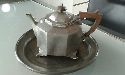 Arts and crafts Craftsman Sheffield Pewter tray bent & tea pot English pewter af