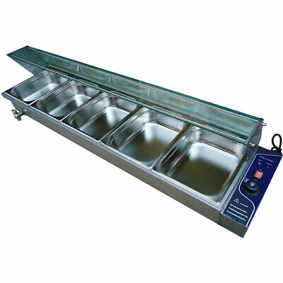 Bain Marie 5x 1/2 GN Pan Hot Electric Food Warmer Display Glass Pot Wet Well