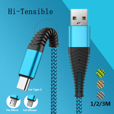 Braided Data Sync Charger Micro USB Cable USB C iOS Charging Cable For Huawei