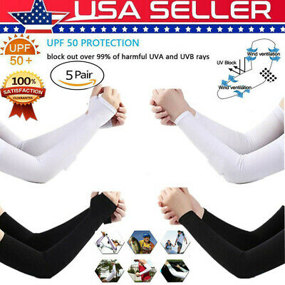 5 Pair Cooling UV Protection Arm Sun Compression Sleeves For Men Women