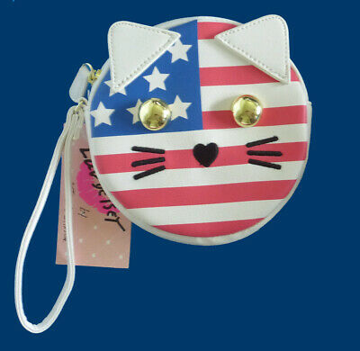 Luv Betsey Johnson American Flag Cat Red White & Blue Large Wristlet Coin Purse