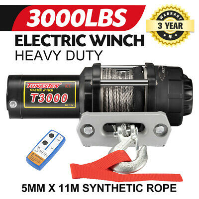 Wireless 3000LBS / 1360KG Electric Winch Synthetic Rope w/Remote 12V ATV 4WD
