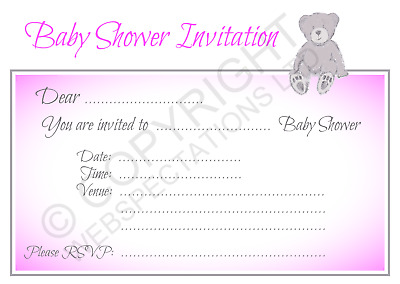 1-100 PACK OF BABY SHOWER PARTY INVITATIONS Pink Girls Invites & Envelopes Teddy