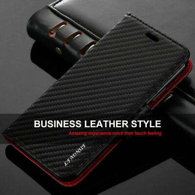 Case for iPhone 11 Pro Max XR XS Max 7 8 Plus Magnetic Carbon Flip Leather Cover