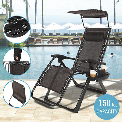Heavy Duty Zero Gravity Folding Lounge Beach Chairs Square Frame W/Canopy Black