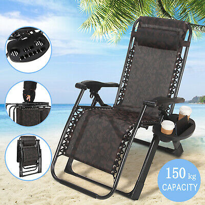 Heavy Duty Zero Gravity Folding Lounge Beach Chair W/Holder Square Frame Black