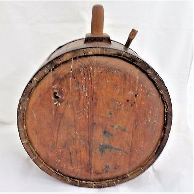 Staved Canteen Barrel Keg Treen Wooden & Iron Banded Coopered Antique Mid 19thC