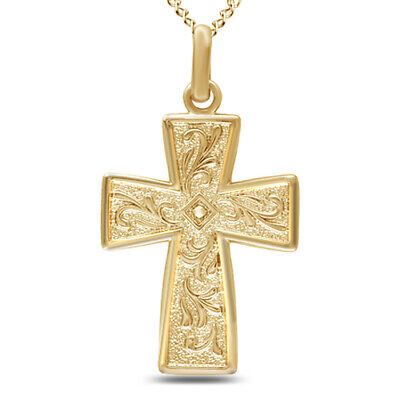 """Valentine's Day Cross Pendant W/18"""" Chain 18k Yellow Gold Over 925 Silver"""
