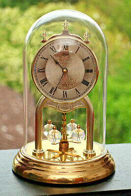 Vintage German Hermle Quartz Anniversary Glass Dome Mantel Clock Gwo