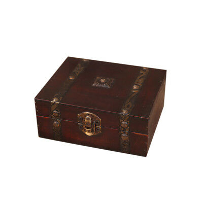 Wooden Vintage Lock Treasure Chest Jewelery Storage Nail Box Case Organiser Gift