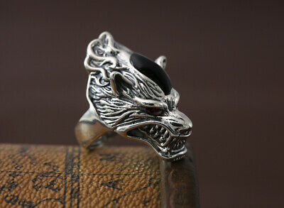 100% Sterling Silver 925 Wolf Chunky Men Handcrafted Ring Resizable FREE BOX