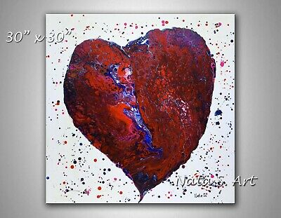 "Original Abstract Heart Painting, 30""/30"" Large Modern Heart Canvas Art by Nata"