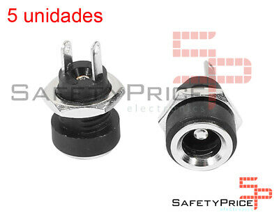 5x Conector corriente DC Jack Power HEMBRA 5,5X2,5MM Panel chasis tuerca