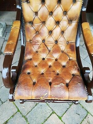 Vintage 1940s Chesterfield slipper chair In rare tan leather