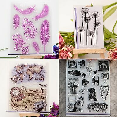 Feather & Cat Transparent Clear Rubber Stamp Diary Zccj Scrapbooking Decor F9E3
