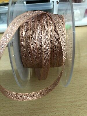ROSE GOLD BERISFORDS SPARKLY GLITTER RIBBON  WIDTH 7mm x 30 Metres (Incl P & P)