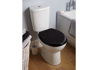 Universal Fit Wooden Black Glitter Toilet Seat Bathroom Toilet Seat With Fixings