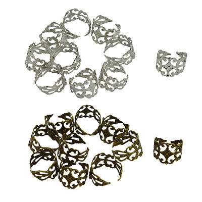 20 Pieces Brass Metal Adjustable Filigree Rings Findings with Glue on Pad