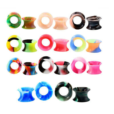 22pcs Colorful Flexible Silicone Flesh Tunnel Expander Piercing Earring 16mm