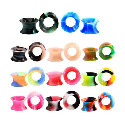 22pcs Colorful Flexible Silicone Flesh Tunnel Expander Piercing Earring 14mm