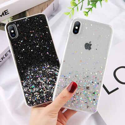 Glitter Bling Clear Soft Silicone TPU Case Cover For iPhone 11 11 Pro Max Xr Xs