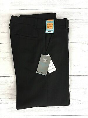 BNWT M&S Boys School Trousers Black 11-12 Years Regular Leg Adjustable Waist