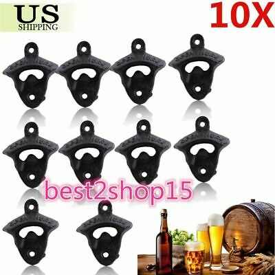 10Pcs Rustic Bar Open Here Cast Iron Wall Mount Beer Bottle Openers Soda Opener