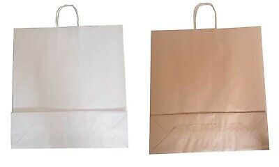 Brown / White Twist Handle Paper Party and Gift Carrier Bag / Bags TWISTED ROPE