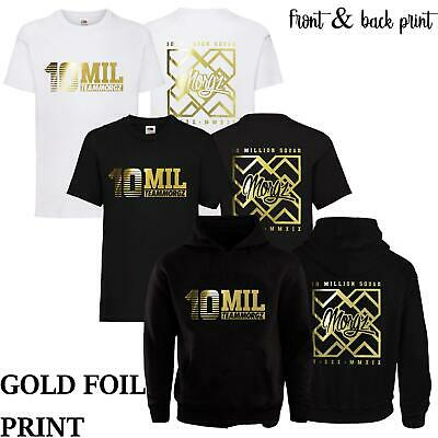 Kids 10 Mil MGZ Youtuber Pullover Hoodie T-Shirt Gaming Gold Team Morgz Top Gift