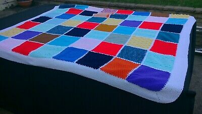 Colourful hand knitted patchwork throw blanket 72 x 62 inches