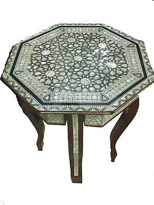Amazing Moroccan Hand Made Octagon Mother of Pearl Mosaic Inlay Wood Tea Table