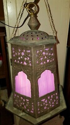 Antique Art Nouveau Gothic Brass Hanging Ceiling Fixture w/Purple Glass Panels