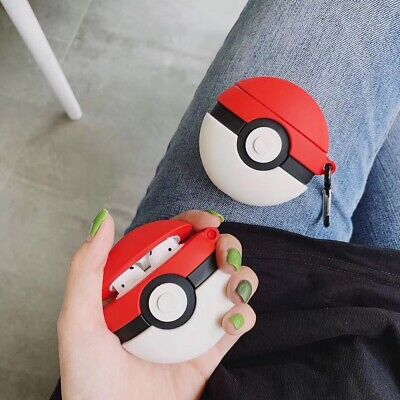 3D Pokemon Ball Pikachu Silicone Soft Case Ring Strap For Apple Airpods Earphone