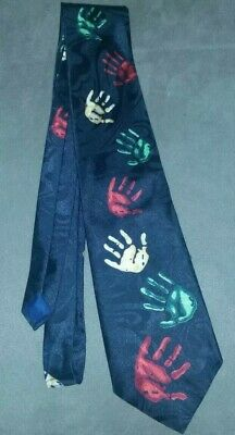 Black Lend a Hand Handprint Neck Tie in Used Condition. Pre-owned.