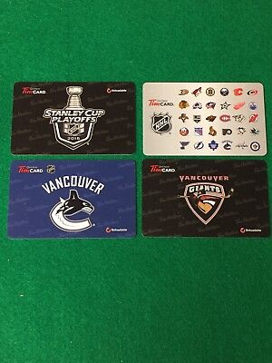 tim hortons nhl gift cards. Lot Of 4