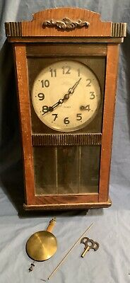 Antique N.h.t. Trademark Crown Wall Clock China Japan Mahogany