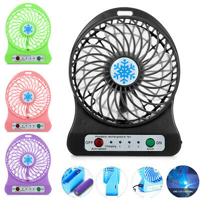 Portable Fan Rechargeable LED Light Air Cooler Mini Desk USB 18650 Battery Fan