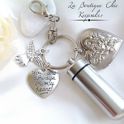 Memorial Photo locket Cremation Ashes Urn Keyring, Bereavement Keepsake, Angel
