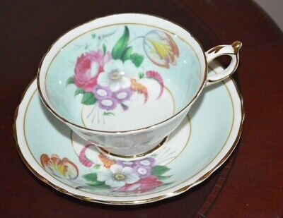 Paragon Fine Bone China Footed Cup & Saucer White Blue Pink Cabage Rose