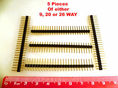 Header Plug Gold 2.54mm Pitch SIL Easy Snap 9, 20 or 26 Way 5 Pieces OM0964B